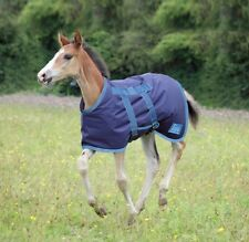 "Shires 46 Foal 300g Medium Weight Turnout Rug No Neck NAVY/SILVER 36"",3'0"",76cm"