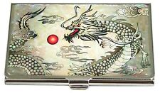 Mother of pearl Business credit card holder ID name card case Dragon design #52