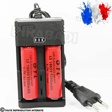 2 PILES ACCU RECHARGEABLE 18650 3.7v 5300mAh BATTERY BATTERIE + CHARGEUR RS-93