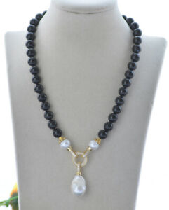 "Z10772 18"" 22mm White Drop Keshi Pearl Black Agate Necklace Pendant CZ"