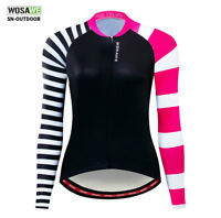 Womens Bike Jersey Long Sleeve Cycling Jersey Outdoor Sports Tops MTB Shirt S-XL