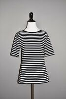 CHAPS $44 Black White Striped Knit Top Caged Scoop Back Medium