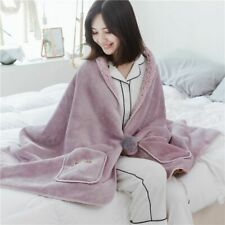 Solid Color Flannel Coral Velvet Plush Blanket Wearable Shawl Plane Blankets