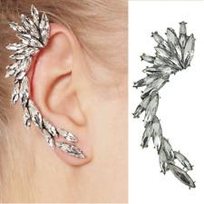 Orecchini chiusura a farfalla clip strass foglie Ventaglio Argento - colorato
