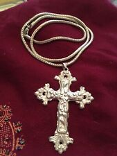 Sterling Silver 925 HUGE Statement Christian Cross Necklace