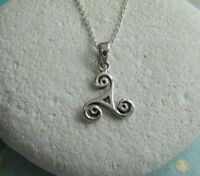 Sterling Silver Celtic Triskele Pendant Necklace - UK Seller