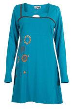 Vestiti da donna tunica blu in cotone