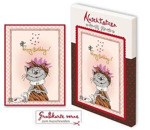 Geburtstagskarte Happy Birthday mit 70gr Vollmilchschokolade Kunstgrußkarte