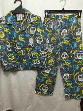 BNWT Boys Sz 10 Grey Skulls Print Long Style Flannel Winter Style PJ Pyjamas