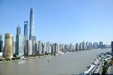 SHANGHAI DAY SKYLINE CITYSCAPE POSTER STYLE C 24x36 HI RES