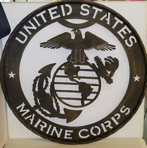 UNITED STATES MARINE CORPS Metal Sign, 24''round Den,Man's Cave,Garage or Office