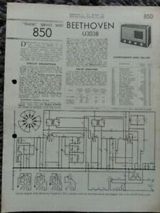 Beethoven U3038 3 Band Super Het Radio Service manual
