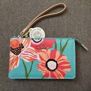 SPARTINA 449 Floral Emmy LEATHER Wristlet Clutch Bag Handbag