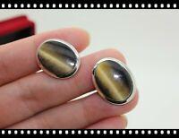❤️AlphaTJ Jewelry Vintage Swank Natural Cat Tiger Eye Cufflinks Gemstone
