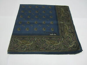 """USED NAVY BLUE PAISLEY PATTERN COTTON 18"""" HANDKERCHIEF POCKET SQUARE FOR MEN #3"""
