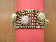 Vintage wide gold tone Mesh Bracelet with colorful cabochons