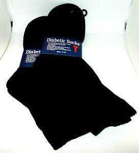 2 Paire HOMME Diabétique Non Bords Extra Large Manchette Socks Noir Taille 9-11