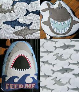 SHARK 7pc TWIN QUILT SHARKS GREAT WHITE SHARK ~ SHEETS ~ SHAM~ THROW PILLOW