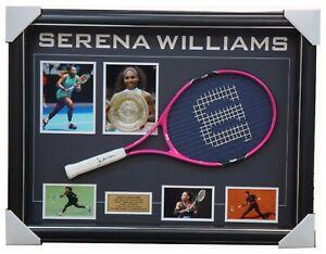 Serena William Grand Slam Champion Signed Tennis Racket with Photos Framed + COA