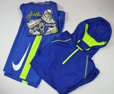 Nike Boys Large Outfit Shorts Shirt Pullover Neon Blue Large Swoosh Just Do It