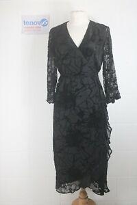 WG456D Mint Velvet Black Ellie Devore Wrap Dress Size 12