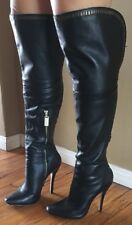LAMB Over The Knee, Leather,  Black, High Heel Boots Size 6.5  $780