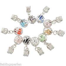 30 European Silberfarbe Kristall Filigran Dangle Beads