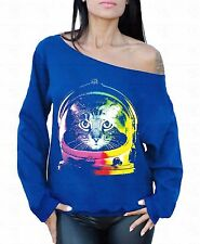 Cat Astronaut Off The Shoulder Oversized Slouchy Sweater Sweatshirt