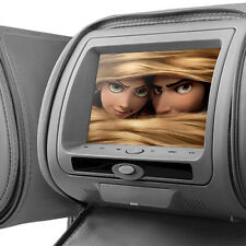 "2 X Gris 7 ""leather-style coche Reposacabezas DVD con hd-screen/usb/games / Auriculares"