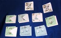 9 RARE VTG MINIATURE 1950s HAND-MADE TREASURE MASTER UNUSED GIFT CARDS, CRAFTS