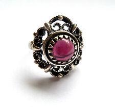 Vintage Amethystring Silberring Amethyst rund 925 er Sterling Silber Ring Gr. 56