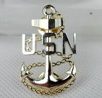 Golden US NAVY USN Badge Pin Insignia -0016