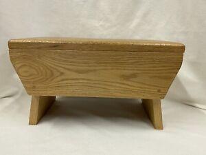 Vtg Handmade Hand Made Wooden Step Stool Wood Seat Dowel Pin Peg Hardwood Oak