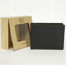 Mens Genuine Cow Leather Bi-fold Wallet Black 8 Side Card Slot Pocket w Gift Box