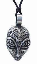 Pewter ALIEN Pendant on Adjustable Black Cord Necklace Nickel Free 45mm drop