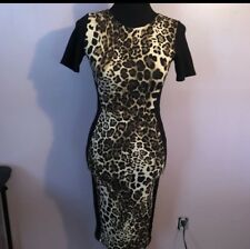 Warehouse Leopard Sexy Rockabilly European Bodycon Bandage Dress Size 4 US 6 UK