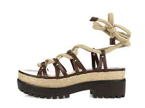 Michael Kors Collection Brown Khaki Leather Gladiator Platform Sandals Size 36