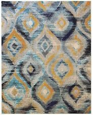 Blue Yellow Multi Rugs Moroccan Trellis Designer Modern Living Room Area Rug