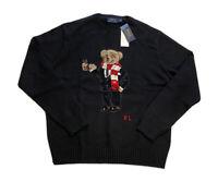 Polo Ralph Lauren Hot Chocolate Cocoa Bear Knit Crewneck Sweater Black Men's XL