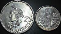 1960 Guatemala 10 & 25 Centavos, KM#262, KM#262 - Silver Coins **AU++/UNC**