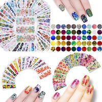 50 Sheets Nail Art Flowers Water Decals Transfers Stickers Holo Nails Art Foil