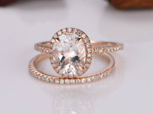 4Ct Oval Cut Pink Morganite Simulnt Diamond Engagement Ring Rose Gold Fns Silver