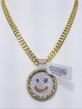 VVS1 DESIGNER CHARM WITH CUBAN CHAIN 14KT GOLD FINISH ANTI TARNISH HIGH QUALITY