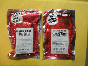2 CAMPING MREs MOUNTAIN HOUSE FREEZE DRIED COOKED SAUSAGE PATTIES + TUNA SALAD