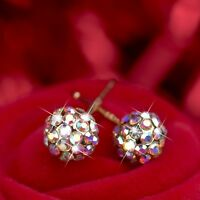 18k yellow gold gf made with Swarovski crystal ball stud 925 silver pin earrings