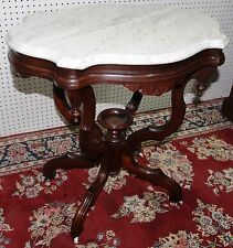 American Antique Victorian Walnut Marble Top Table Porcelain Casters Circa 1870