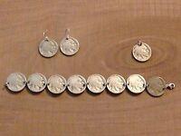 Buffalo Indian Head Nickel Coin Jewelry Set-Bracelet, Earrings & Pendant!