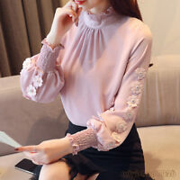 Autumn Winter Korean Women Chiffon Shirt Mock Neck Long Sleeve Casual Blouse Top