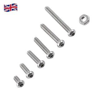 250Pcs Assorted Stainless Steel M2 Hex Socket Screws Bolt Set 4mm-16mm UK STOCK