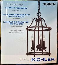 KICHLER Hanging 3 Light Pendant MENLO PARK Old Bronze 0616014 unused in Box